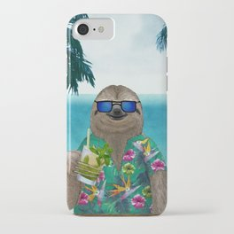 Sloth on summer holidays drinking a mojito iPhone Case