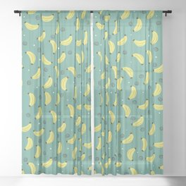 Completely Bananas with Dots and Swirls Pattern Sheer Curtain