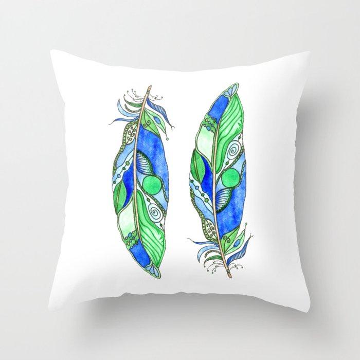 Bohemian Spirit Feathers - Blue & Green Throw Pillow