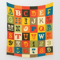 alphabet Wall Tapestries featuring VINTAGE ALPHABET by Daisy Beatrice