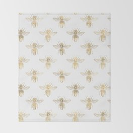 Chic Gold and White Bee Patten Throw Blanket