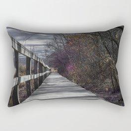 Extended wooden foot bridge through the forest Rectangular Pillow