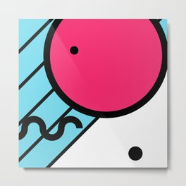 Memphis Design Pink Circle Metal Print