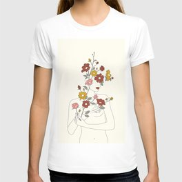 Colorful Thoughts Minimal Line Art Woman with Wild Roses T-shirt