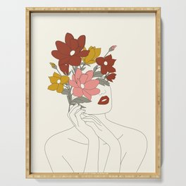Colorful Thoughts Minimal Line Art Woman with Magnolia Serving Tray