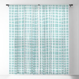 aqua ocean thread random cross hatch lines checker pattern Sheer Curtain