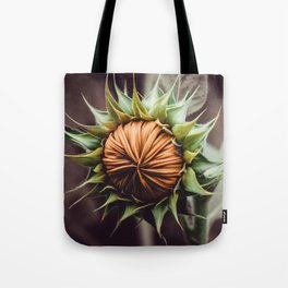 Sunflower Bud Photograph Tote Bag