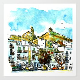 Ibiza old town early Seventies Art Print