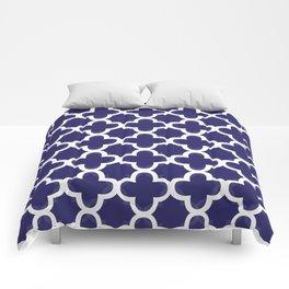 Navy & White Quatrefoil Comforters