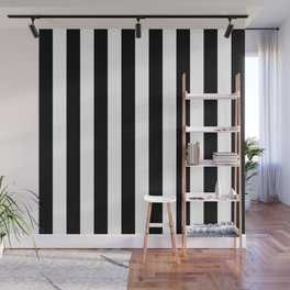 Parisian Black & White Stripes (vertical) Wall Mural