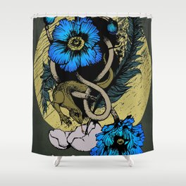 Blue flower with dragon Shower Curtain
