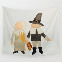 toddler Wall Tapestries featuring Thanksgiving Pilgrim Toddler Girl and Boy Couple by PodArtist