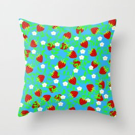 Strawberries on blue Throw Pillow