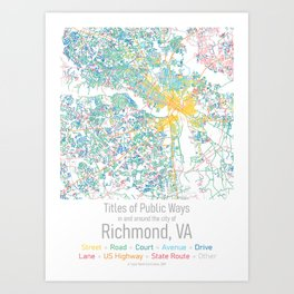 Titles of Public Ways in and around the city of Richmond (small) Art Print