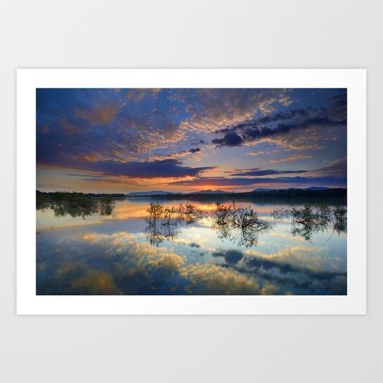 Magic reflections. Sunset at the lake Art Print
