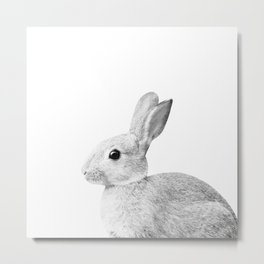 White Baby Bunny #1 #decor #art #society6 Metal Print
