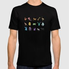 Glitter Animals A MEDIUM Black Mens Fitted Tee