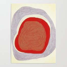 Red and Grey Abstract Poster