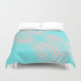 Abstract modern pink Tropical Exotic Palm Leaves on aqua by #Utart Duvet Cover