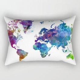 World Map Illustration Rectangular Pillow