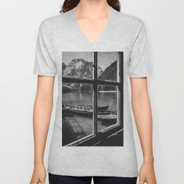 Through the Window (Black and White) Unisex V-Neck