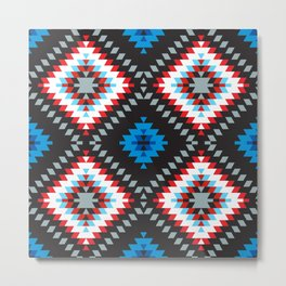 Colorful patchwork mosaic oriental kilim rug with traditional folk geometric ornament. Tribal style Metal Print