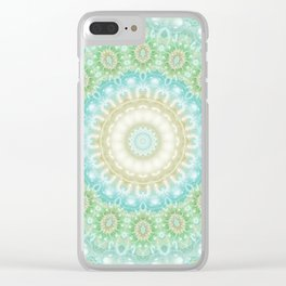 Earth and Sky Mandala in Pastel Blue and Green Clear iPhone Case