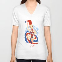 france V-neck T-shirts featuring France by Melissa Ballesteros Parada