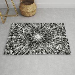 white embroidery mandala on black Rug