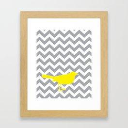 Yellow Bird on Gray Chevron Framed Art Print