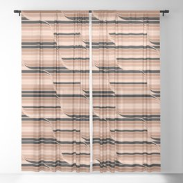 Geo Stripes - Black & Neutral Sheer Curtain