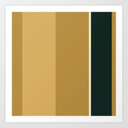 A particular joint of Bronze (Metallic), Champagne, Dark and Earth Yellow vertical stripes. Art Print