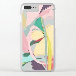 Shapes and Layers no.23 - Abstract Draper pink, green, blue, yellow Clear iPhone Case