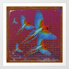 TROPICAL BLUE MACAWS MAROON-BROWN ART Art Print