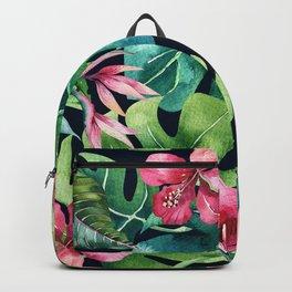 Dark Tropical Hibiscus & Leaves Backpack