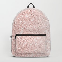 Blush Pink Sparkles on White and Gray Marble Backpack