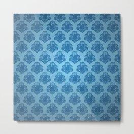 Blue Tardis Pattern Metal Print