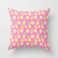 pinapple Throw Pillows featuring Pink Pinapple by KattyB