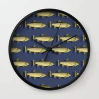 trout Wall Clocks featuring Brown Trout by Trinity Mitchell