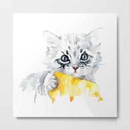 Kitten with a yellow blanket Metal Print