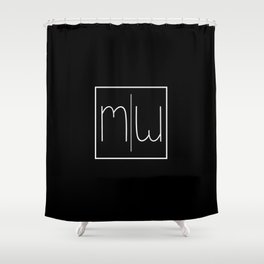 """ Mirror Collection "" - Minimal Letter M Print Shower Curtain"