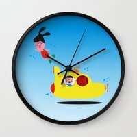 submarine Wall Clocks featuring Submarine by Alfonnew Shop