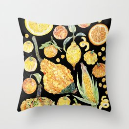 Harvest of Yellow - Black Throw Pillow