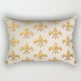 Gold Metallic Fleur De Lis Stencils Rectangular Pillow