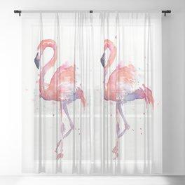Pink Flamingo Love Two Flamingos Sheer Curtain