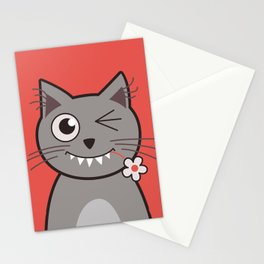 Winking Cartoon Kitty Cat Stationery Cards