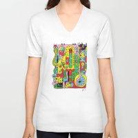 ice cream V-neck T-shirts featuring Ice Cream by Rabassa