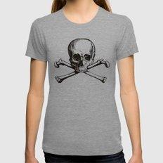 Skull and Crossbones | Jolly Roger Womens Fitted Tee MEDIUM Tri-Grey