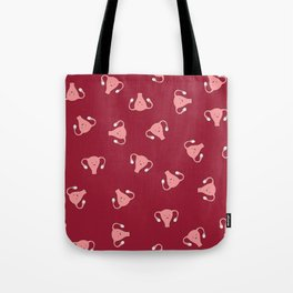 Crazy Happy Uterus in Red, Large Tote Bag