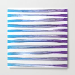 Drawn Lines Blue to Purple Ombre Metal Print